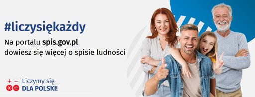 """logo Narodowego Spisu Powszechnego Ludności i Mieszkań 2021 przedstawiające grupę uśmiechniętych ludzi oraz hasło """"#liczysiękażdy"""