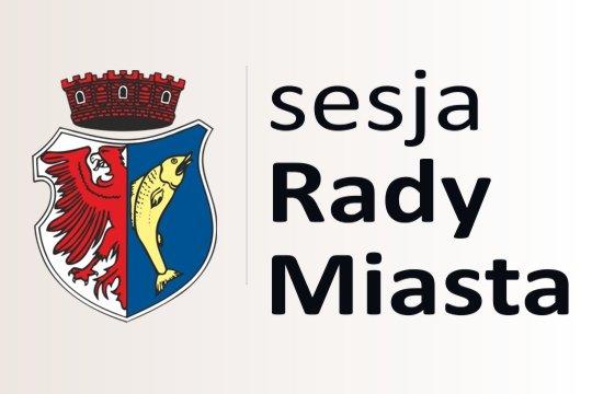 """przykładowa grafika przedstawiająca herb miasta Kostrzyn nad Odrą oraz napis """"sesja Rady Miasta"""""""