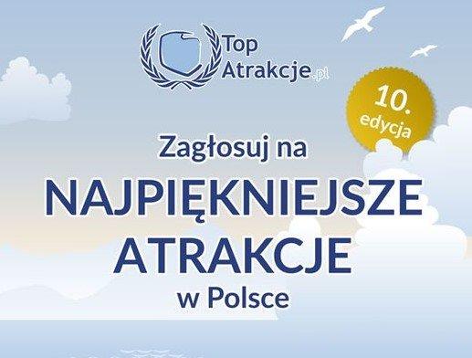 Grafika z napisem: Zagłosuj na najpiękniejsze atrakcje w Polsce