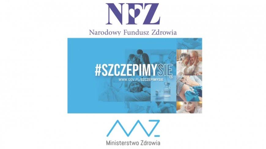 Początkowy kadr z filmu. Napis logo: NFZ Narodowy Fundusz Zdrowia: poniżej #szczepimy się na niebieskim tle z zdjęciami kilku osób; na dole logo MZ Ministerstwo Zdrowia.