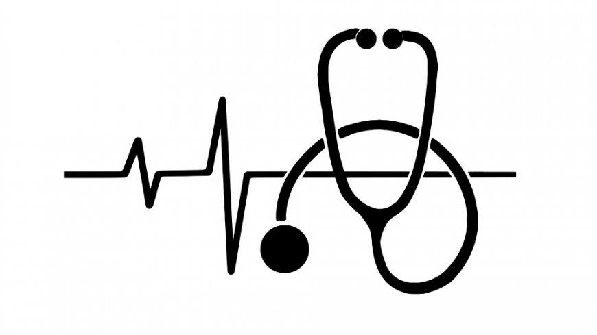 Grafika przedstawia linię życia i stetoskop.