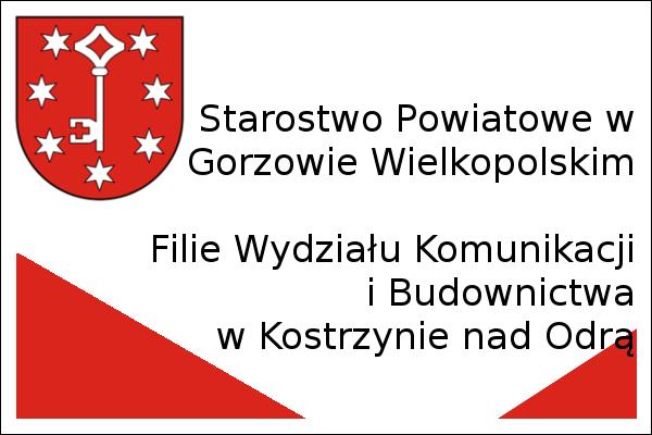 Obrazek z herbem starostwa powiatowego w Gorzowie Wielkopolskim i napisem Filie wydziału komunikacji i budownictwa