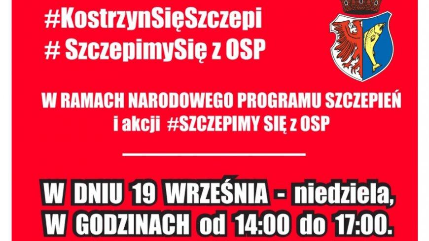 Plakat z herbem Kostrzyna, informuje o szczepieniach w niedzielę 19 września w godzinach 14.00-17.00.